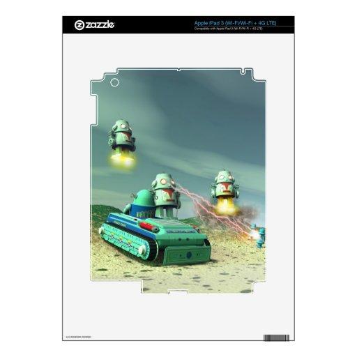 Invasión del robot desde arriba de la piel de Zazz iPad 3 Skins