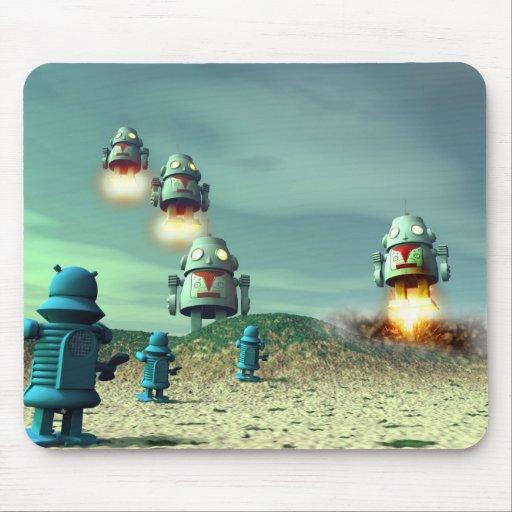 Invasión del robot desde arriba de V2 Mousepad Alfombrilla De Ratón