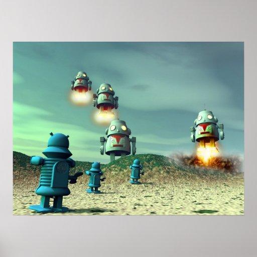 Invasión del robot desde arriba del poster V2