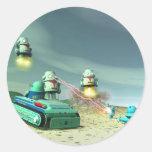 Invasión del robot desde arriba pegatinas redondas