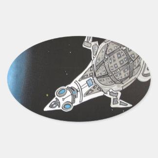 Invasion fleet 2 oval sticker