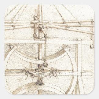Invención de Leonardo Pegatina Cuadrada