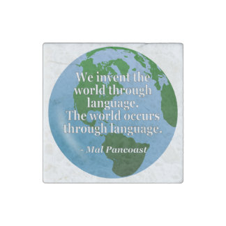 Invent world language Quote. Globe Stone Magnet