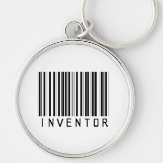 Inventor Bar Code Silver-Colored Round Keychain
