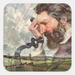 Inventor del vintage, teléfono de Alexander Graham Pegatina Cuadrada