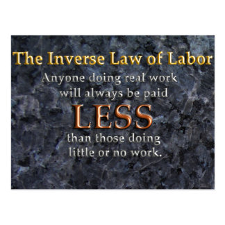 Inverse Law of Labor Postcards