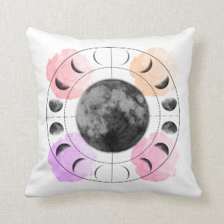 Inverse Moon Phases and Roses Throw Pillow