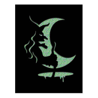 "Inversion Art ""Evil witch"" - black / green dots Postcard"