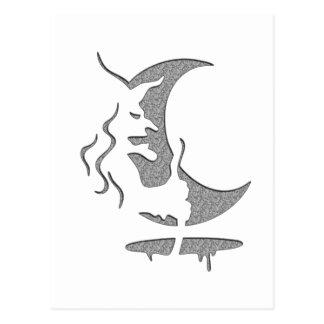 "Inversion Art ""Evil witch"" - grey / black dots Postcard"