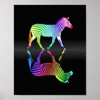 Inversión colorida de la cebra del arco iris póster