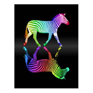 Inversión colorida de la cebra del arco iris tarjetas postales