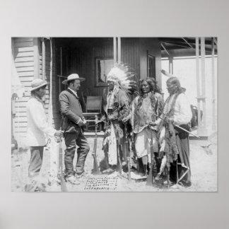 Inverso de los hombres de Cheyenne con blanco Póster