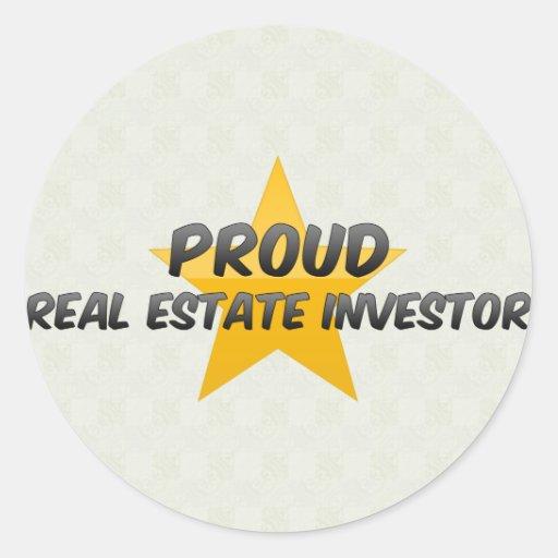 Inversor orgulloso de las propiedades inmobiliaria pegatinas redondas