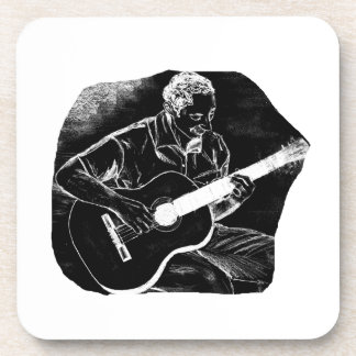 invert acoustic guitar pencil player sketch beverage coaster