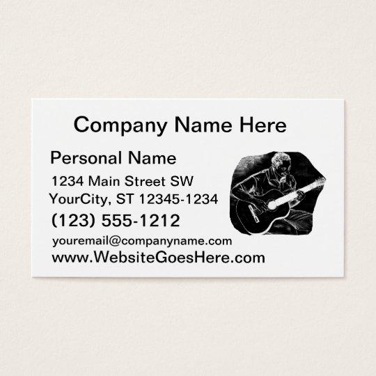 invert acoustic guitar pencil player sketch business card
