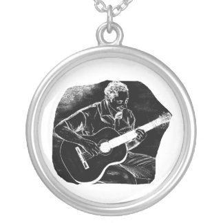 invert acoustic guitar pencil player sketch silver plated necklace