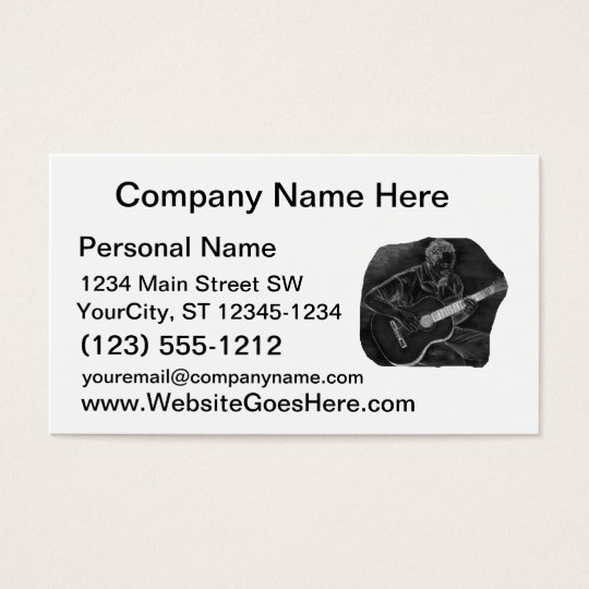 invert acoustic guitar player sit grey business card