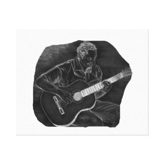 invert acoustic guitar player sit grey canvas print