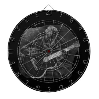 invert acoustic guitar player sit grey dartboard with darts