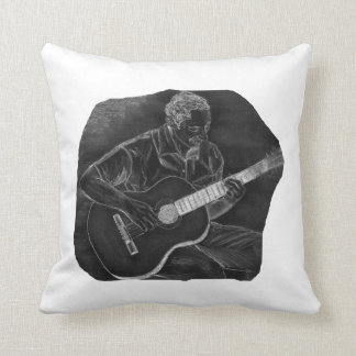 invert acoustic guitar player sit grey throw pillow