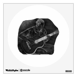 invert acoustic guitar player sit grey wall sticker