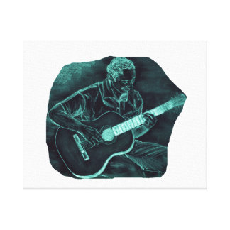 invert acoustic guitar player sitting pencil sketc canvas print