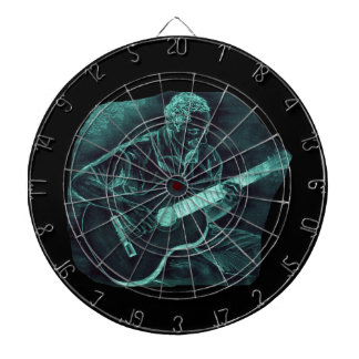 invert acoustic guitar player sitting pencil sketc dart board