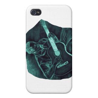 invert acoustic guitar player sitting pencil sketc iPhone 4 case