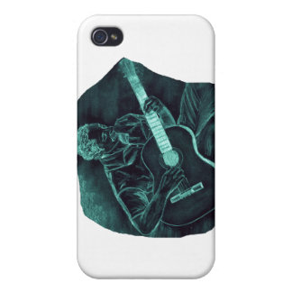 invert acoustic guitar player sitting pencil sketc iPhone 4 covers
