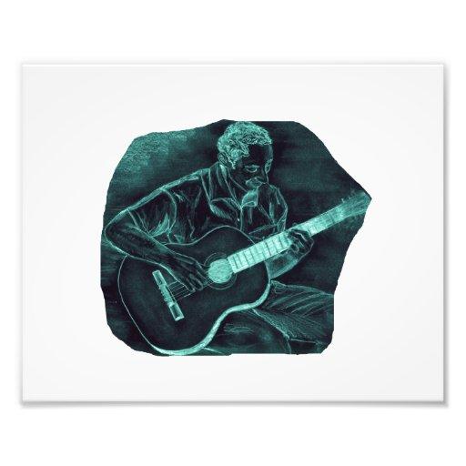 invert acoustic guitar player sitting pencil sketc photo