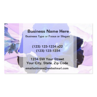 invert blue flowers against pink business card template