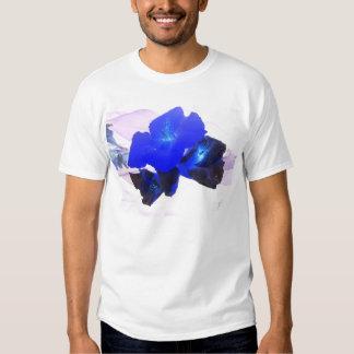 invert blue flowers against pink t-shirt