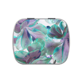 invert teal blue succulent flapjack plant jelly belly candy tin
