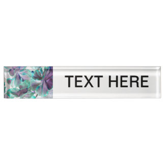invert teal blue succulent flapjack plant name plate