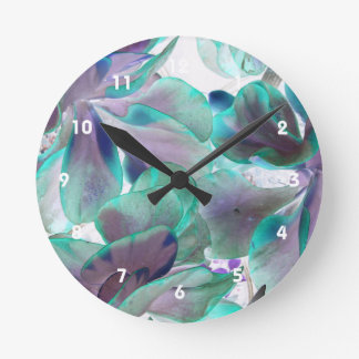 invert teal blue succulent flapjack plant round clock