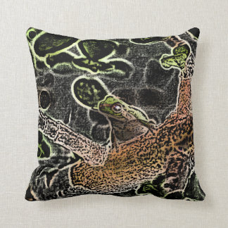 invert tree frog in tree painting cute animal throw pillow