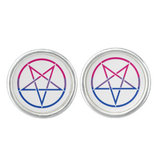 Inverted bi flag pentagram cufflinks