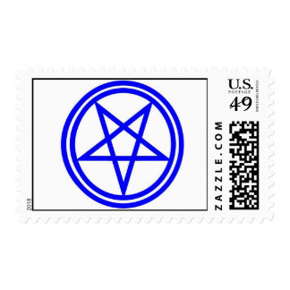 Inverted blue pentagram in a double circle postage stamps
