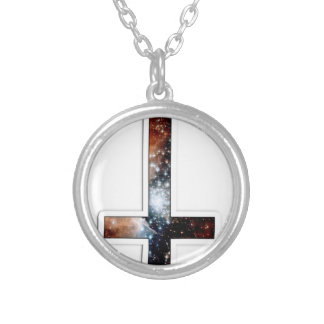 Inverted Cross Galaxy Cosmic Universe Round Pendant Necklace