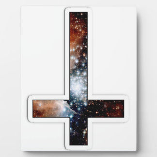 Inverted Cross Galaxy Cosmic Universe Display Plaques