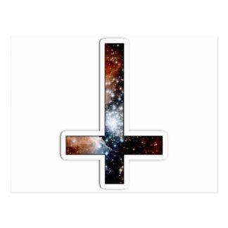 Inverted Cross Galaxy Cosmic Universe Postcard