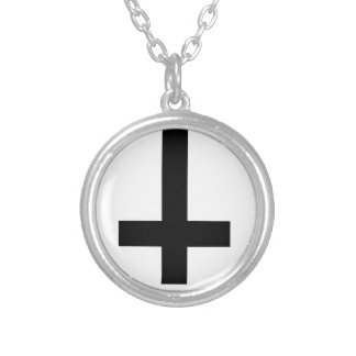 inverted cross round pendant necklace
