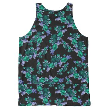 Beach Themed Inverted Floral All-Over-Print Tank Top