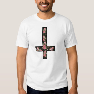 inverted floral pattern cross shirt