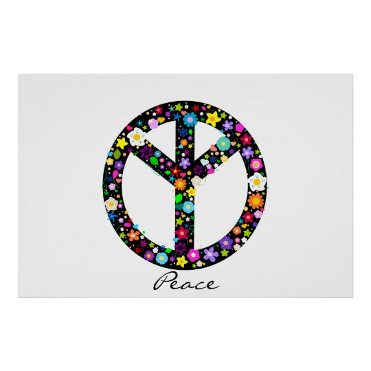 Inverted Floral Peace Symbol Poster