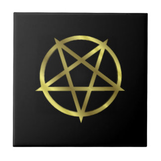 Inverted Gold Pentagram Ceramic Tile