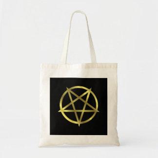 Inverted Gold Pentagram Tote Bag
