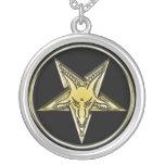 Inverted Golden Goat Head Pentagram Necklace