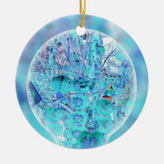 Inverted Neon Pastel Blue Lavender Abstract Ceramic Ornament