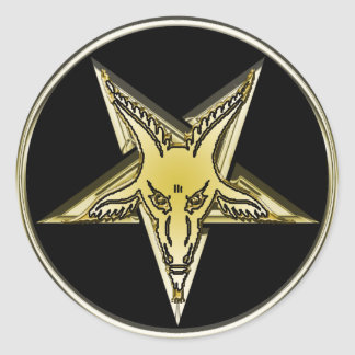 Inverted Pentagram with Golden Goat Head Classic Round Sticker